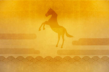 circumstance: Gold folding screen and horse