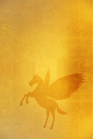 screen: Gold folding screen and Pegasus Stock Photo
