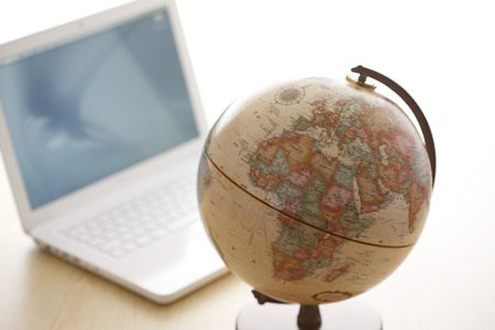 teaching material: Laptop and globe