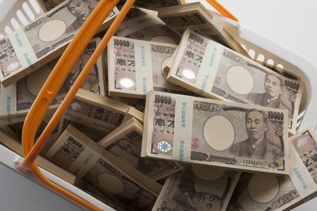 mucho dinero: dinero en la cesta