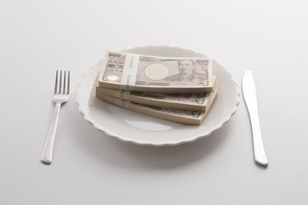 プレート上でお金