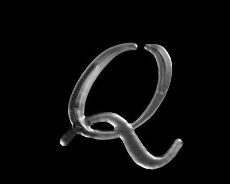 液体の文字 Q