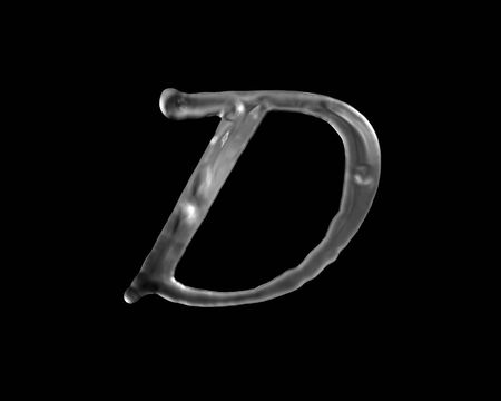 d: The letter D in liquid
