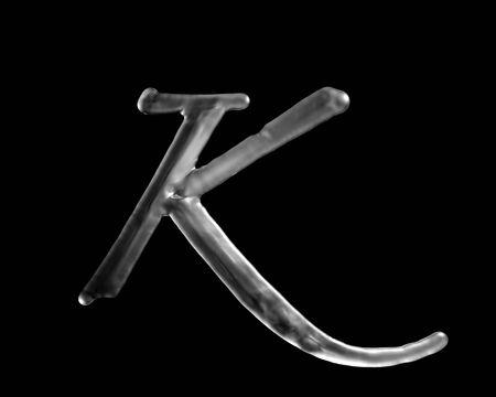 液体の文字 K