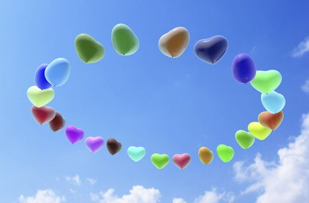 three dimension shape: Heart balloons