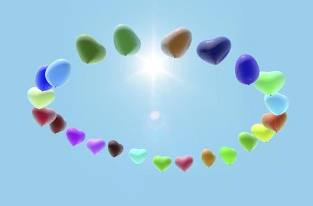 three dimension shape: Heart balloons