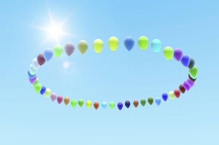 three dimension shape: Balloons Hoop Stock Photo
