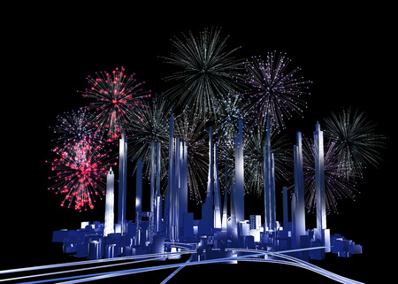 future city: Future city and fireworks