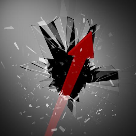 overcome: Arrows to break through the window Stock Photo