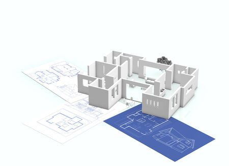 residences: Blueprint of the house Stock Photo