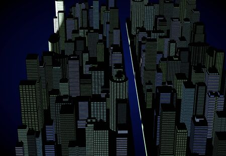 advanced technology: Night view of the cityscape of the CG