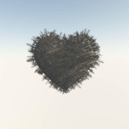 3dcg: Heart-shaped dead tree