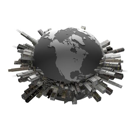 cg: Globe and building group Stock Photo
