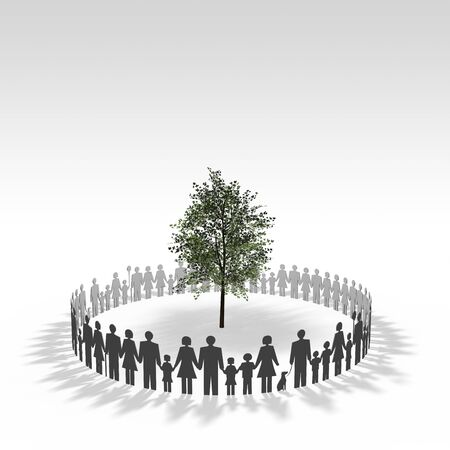 three dimension shape: People surrounding the trees
