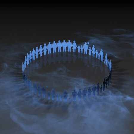three dimension shape: Person in a circle Stock Photo