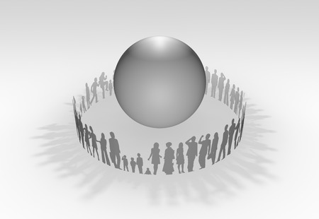 three dimension shape: People surrounding the sphere