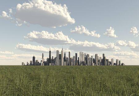 草原のビル群