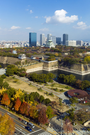 osaka castle: Town and surrounding Osaka Castle in autumn Stock Photo