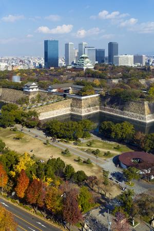 osaka castle: Town and surrounding Osaka Castle in autumn Stock Photo
