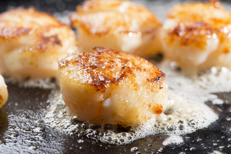 scallops: Butter Grilled Scallops Stock Photo