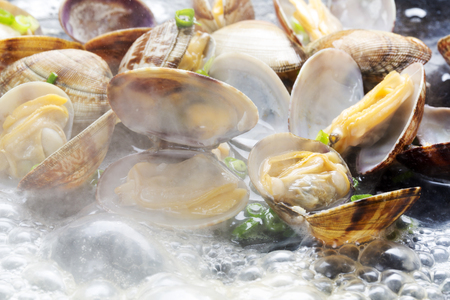 steamed: Steamed clams Stock Photo