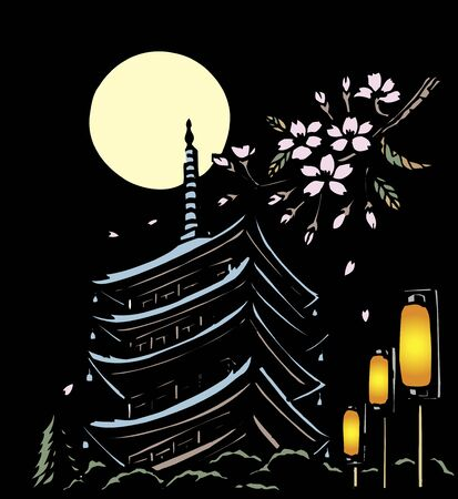evening: Evening five-story pagoda black back of the cutout spring