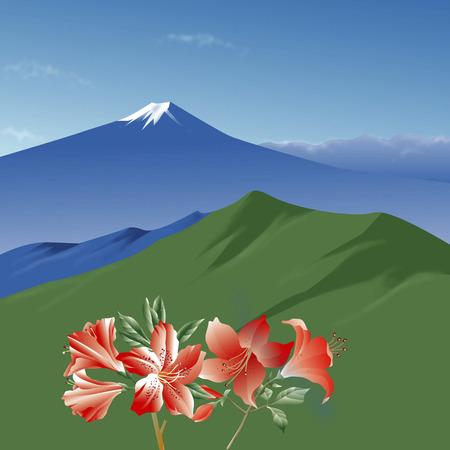 azalea: Fuji and azalea Stock Photo