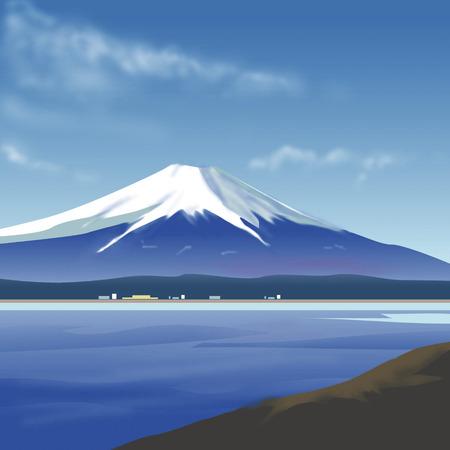 mount fuji: Surface of a lake of Mount Fuji