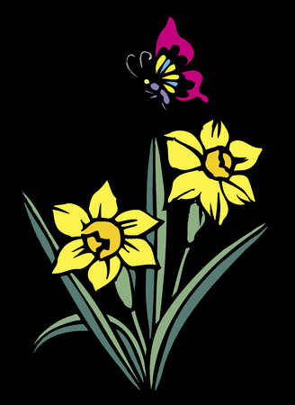 narcissus: Cutout butterfly and narcissus black back