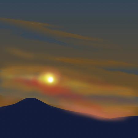 setting  sun: Fuji of the setting sun Stock Photo