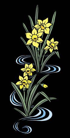 vain: Cutout daffodil black back