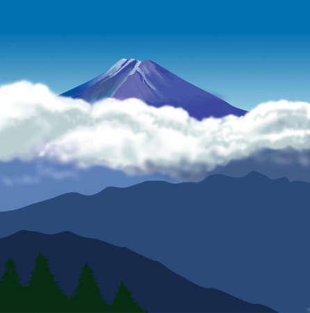 mount fuji: Clouds of Mount Fuji