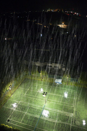 downpour: Night of the tennis court which was hit by torrential rain