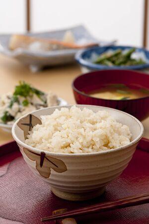 玄米朝食 写真素材