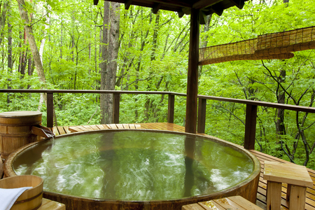 efficacy: Open-air bath in the woods Stock Photo