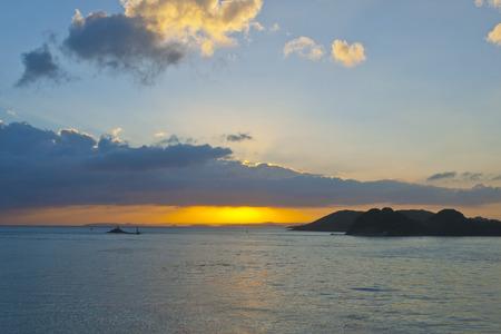 amanecer: Hirado Puerto del brillo matutino Foto de archivo