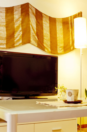 テレビ、タペストリー 写真素材