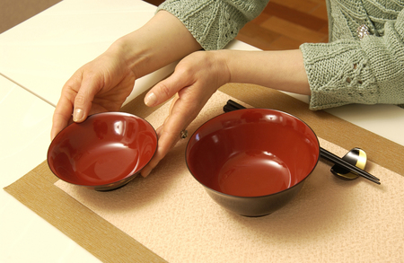 manners: Bowl of manners Stock Photo