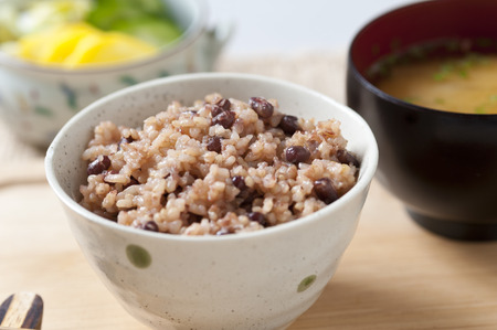 Brown rice red beans rice Stockfoto