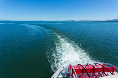 showboat: Michigan of the outer ring and wake Stock Photo