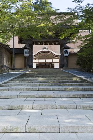 main gate: Main gate of Kongobuji Temple Stock Photo