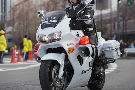 Motorfiets van de politie marathon lood Redactioneel