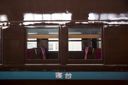 レトロな寝台車の窓 写真素材