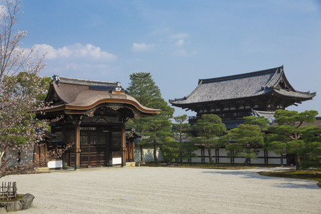 ninnaji: Ninna-ji Temple of Imperial envoy Gate and Nio guardian deity gate Editorial