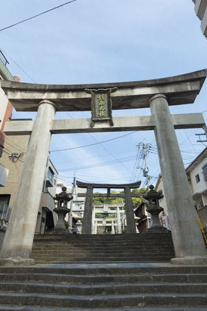 an approach: Stone torii of Suwa Shrine approach Stock Photo