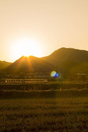 setting  sun: Setting sun of Nijozan Stock Photo