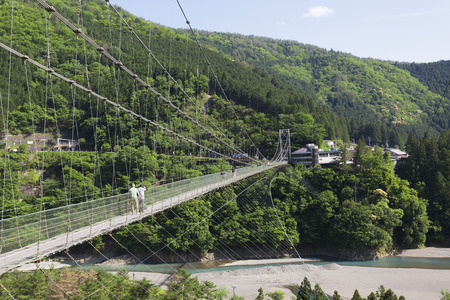 suspension: Tanize of suspension bridge and Totsukawa Stock Photo