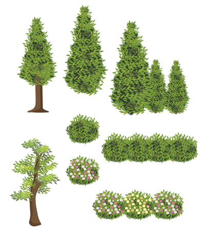 flowerbed: Wood and grass - illustration set