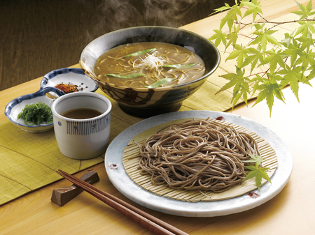 soba noodles: Curry noodles and cold soba noodles with dipping sauce