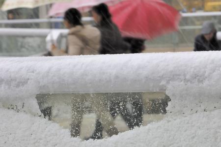 passerby: Pedestrian snow day Stock Photo